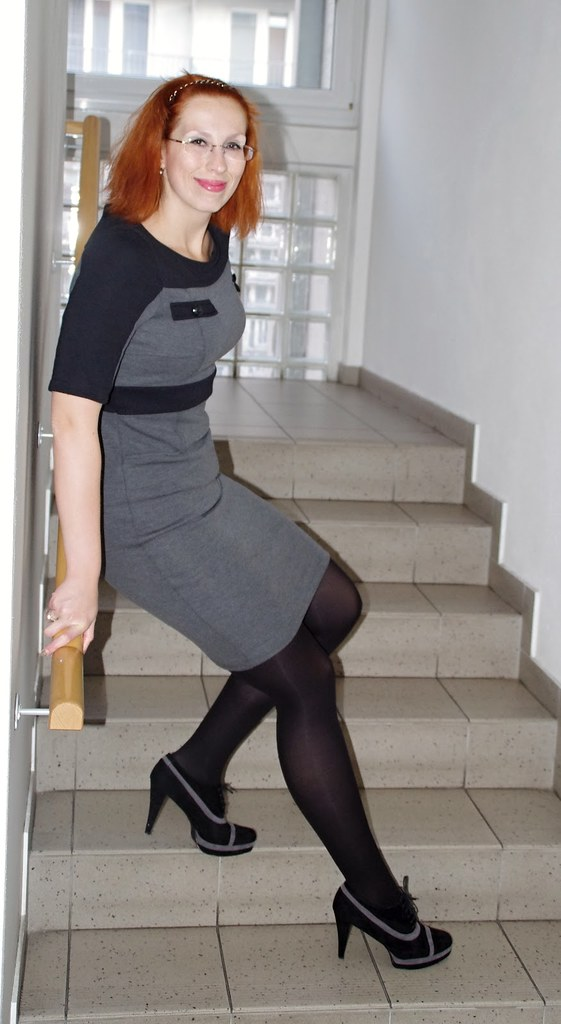 Women in boots and black pantyhose thank for