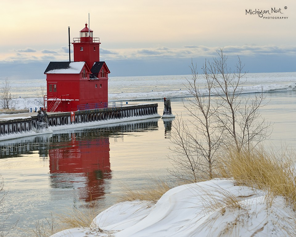 Winter reflections- Holland Harbor Lighthouse (Big Red ...