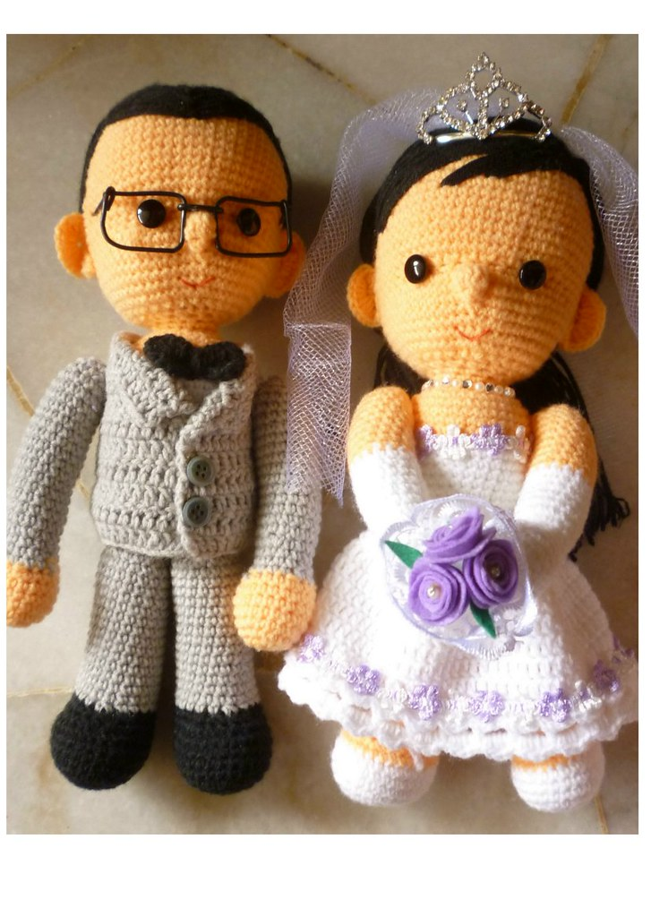 Amigurumi Free Pattern Couple : Crochet Wedding Couple Crochet Cute wedding couple ...