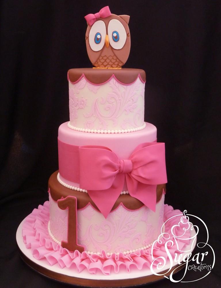 Pink Owl First Birthday Cake Fondant Ruffles Gumpaste Owl Flickr