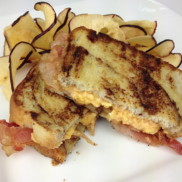 Grilled Palmetto Cheese Sandwich with bacon on Cinnamon Swirl Bread ...
