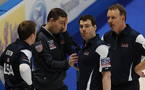 Victoria,B.C. Mar31,2013.Ford Men's World Curling Championship.U.S.A. skip Brady Clark.third Sean Beighton,second Darren Lehto,lead Phillip Tilker.CCA/michael burns photo | by seasonofchampions