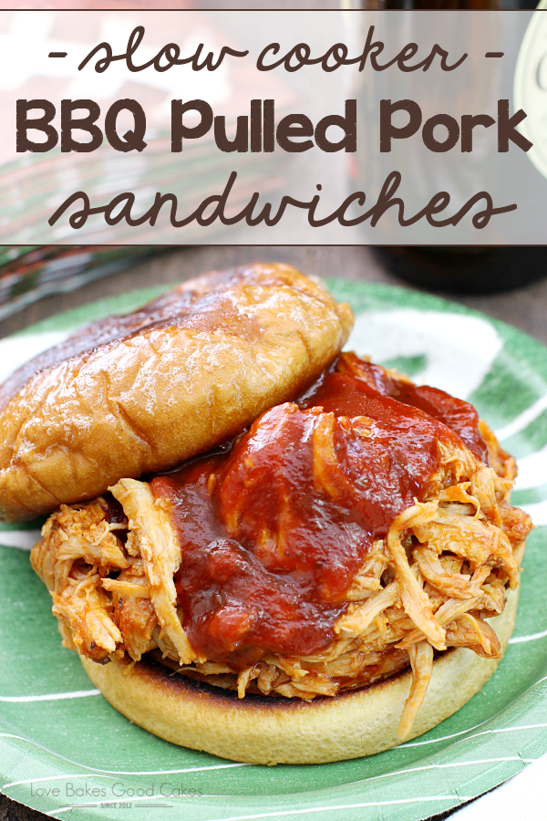You only need 4 ingredients for the most amazing, melt-in-your-mouth BBQ Pork Sandwiches! Let your slow cooker do the work!