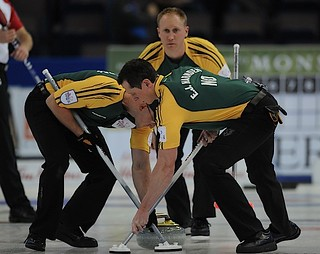 Edmonton Ab.Mar9,2013.Tim Hortons Brier.Northern Ontario  skip Brad Jacobs,lead Ryan Harnden.,second E.J.Harnden.CCA/michael burns photo | by seasonofchampions