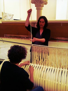 Weavers Emma & Sue continue the warping up process for the State Library Victoria project | by Pomegranate02