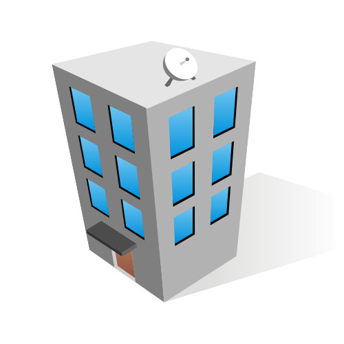 Office building icon | Office business center with a dish ...