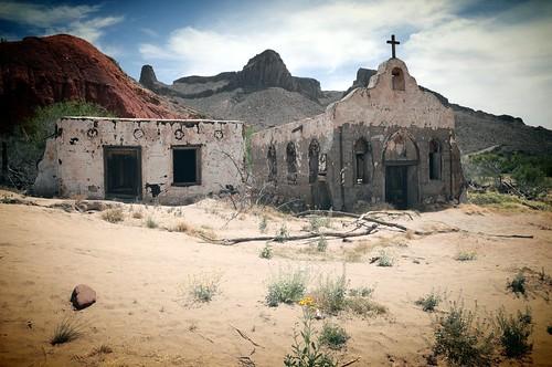 Old Church Ghost Town Texas Usa Mexico Border Rio Grande R