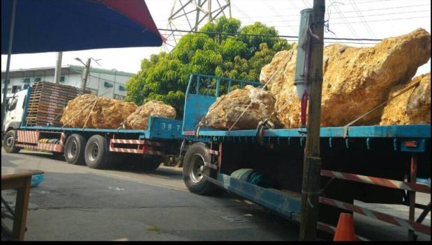 民眾拍攝當地咾姑石遭連結卡車運走。圖片提供:高雄鳥會