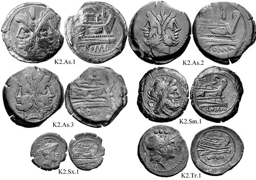 K2 Roman Republican Anonymous struck bronzes McCabe group K2, Related RRC 173 to RRC 213. Cartoon-style obverses, wild hair. Sometimes irregular curved prows. Flat deck structures. 30 gram As. | by Ahala