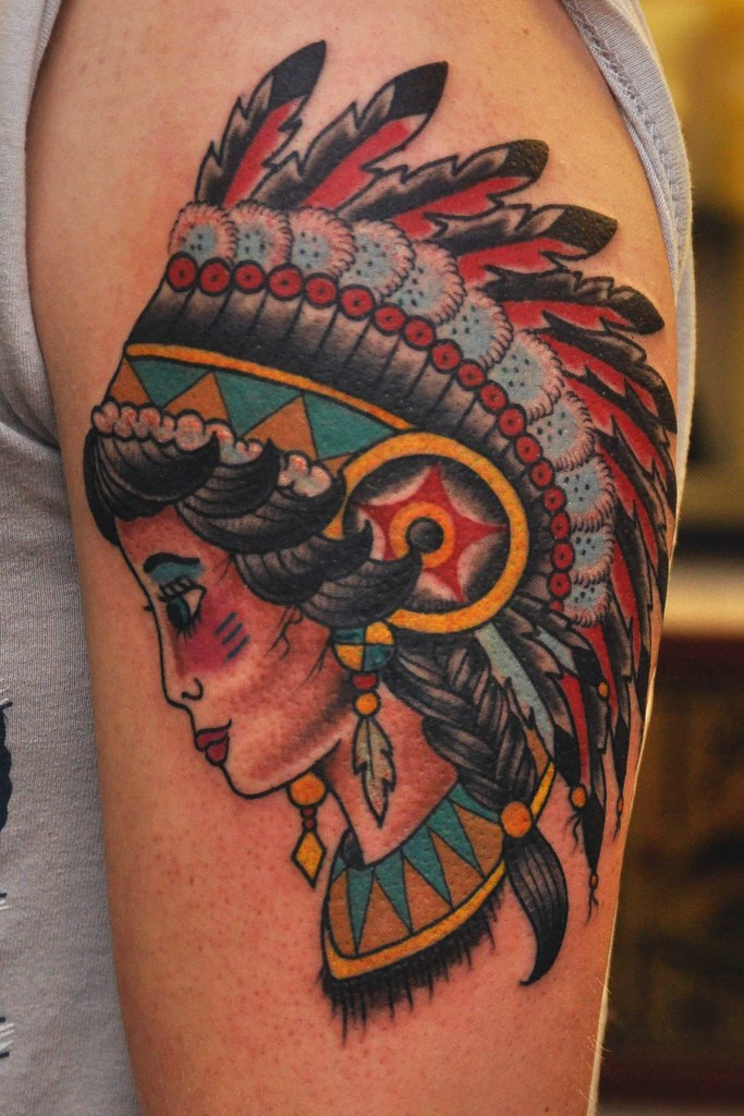 traditional indian head tattoo really enjoyed doing this
