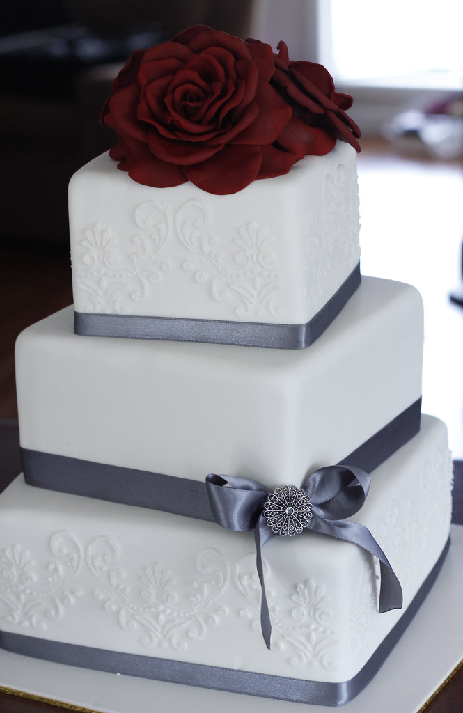 White Red Wedding Cake