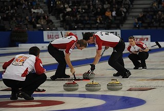Edmonton Ab.Mar10,2013.Tim Hortons Brier. N.L.skip Brad Gushue,third Brett Gallant,second Adam Casey,lead Geoff Walker.CCA/michael burns photo | by seasonofchampions