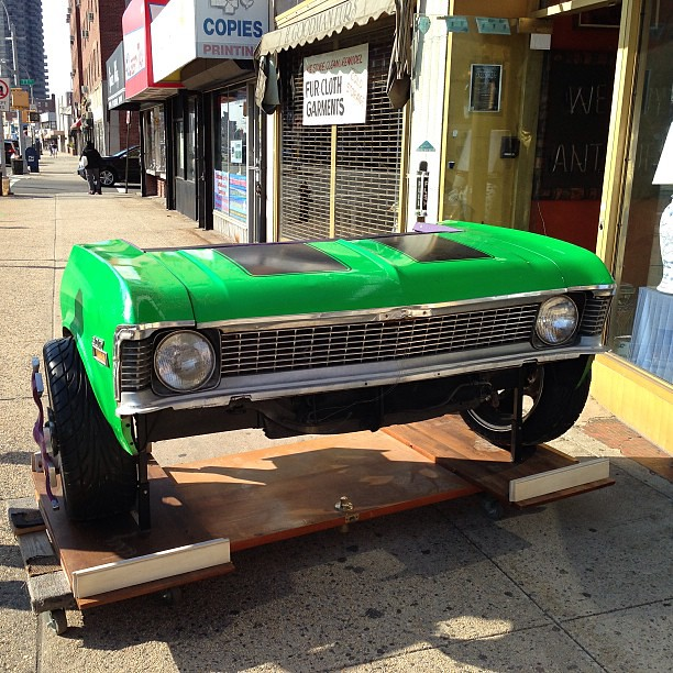 A Chevy Nova Candy Green Painted With Purple Spinning Rims Flickr