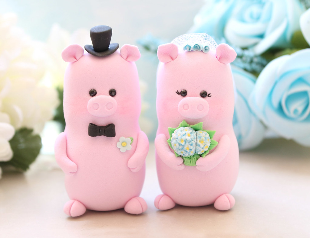 Unique Pigs wedding cake toppers | Cute and elegant piggies … | Flickr