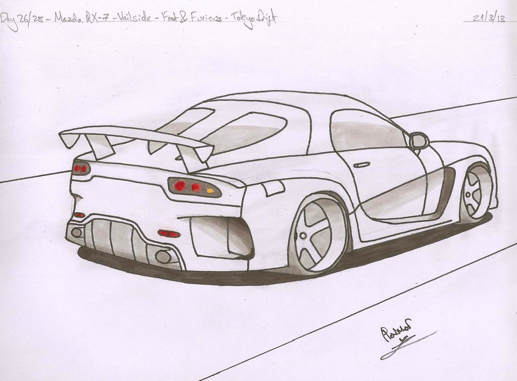 This is a photo of Modest Mazda Rx7 Drawing