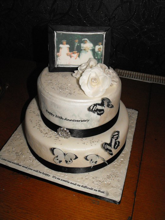 ... Black And White Anniversary Cake With Edible Picture Frame ,  Butterflies , Flowers And Fondant Roses