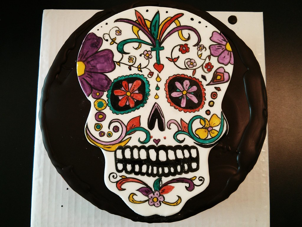 Day Of The Dead Birthday Cake Hand Painted Fondant Skull Flickr
