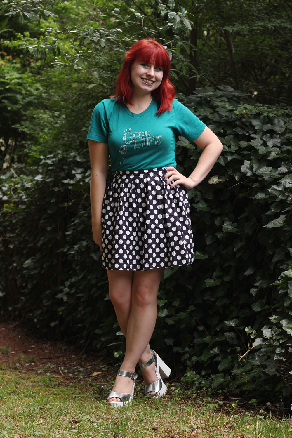 Concert Graphic Tee Pleated Blue Polka Dot Skirt Silver Peeptoe Platforms
