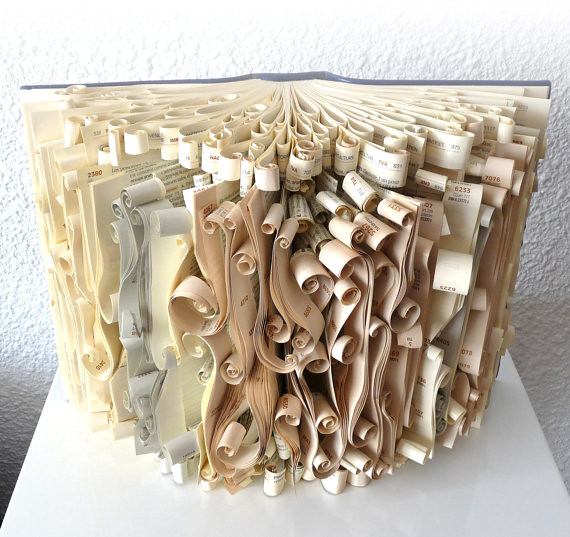 Scrolled book sculpture created by veska abad of abadova