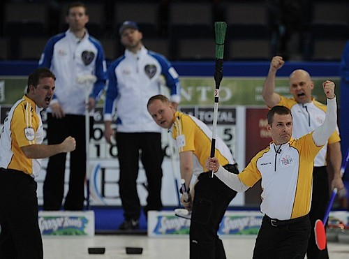 Edmonton Ab.Mar8,2013.Tim Hortons Brier.Manitoba skip Jeff Stoughton third Jon Mead,second Reid Carruthers,lead Mark Nichols.CCA/michael burns photo | by seasonofchampions