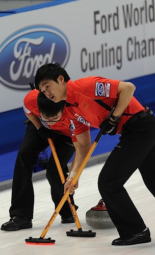 Victoria B.C.April 4,2013.Ford Men's World Curling Championship.China lead J.Zang,second D.Ba.CCA/michael burns photo | by seasonofchampions