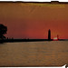 Kenosha Pier & Lighthouse Sunrise ~ Old Paper