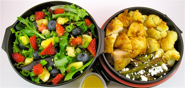 Caribbean Salad with Trini Curry Red Chicken