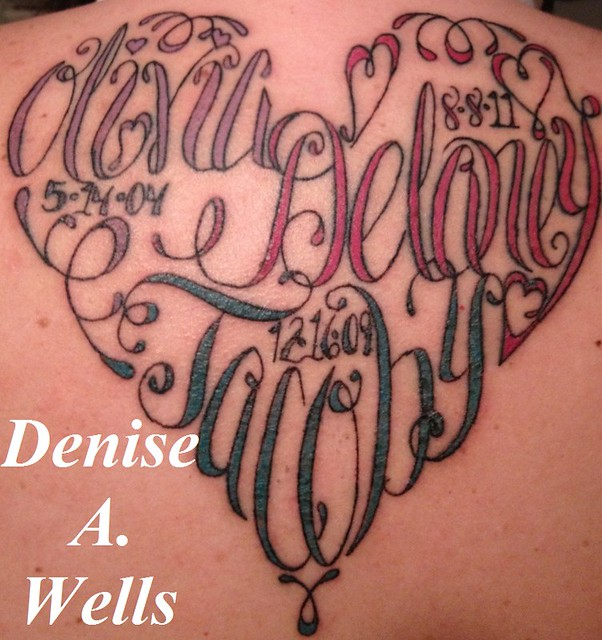 Heart Shaped Tattoos With Words Names made into a heart shaped