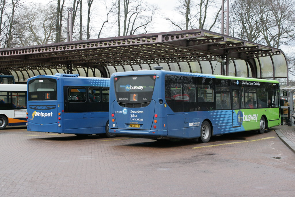 Go Whippet Busway Vehicle Rears In Cambridge Bus Station