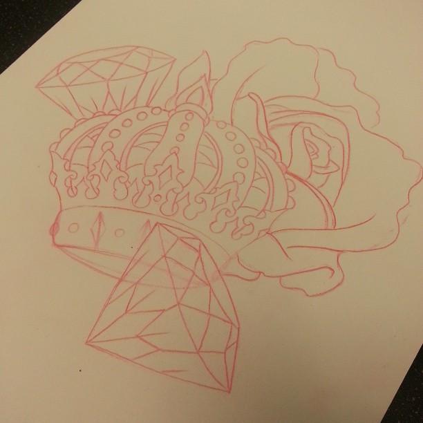 #tattoo #crown #diamond #diamonds #sketch #linedrawing ...