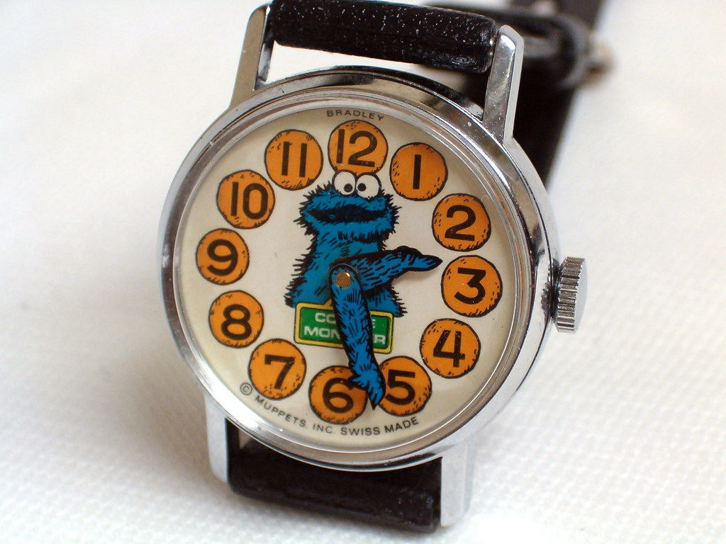 Vintage Cookie Monster Manual Wind Character Watch By Brad
