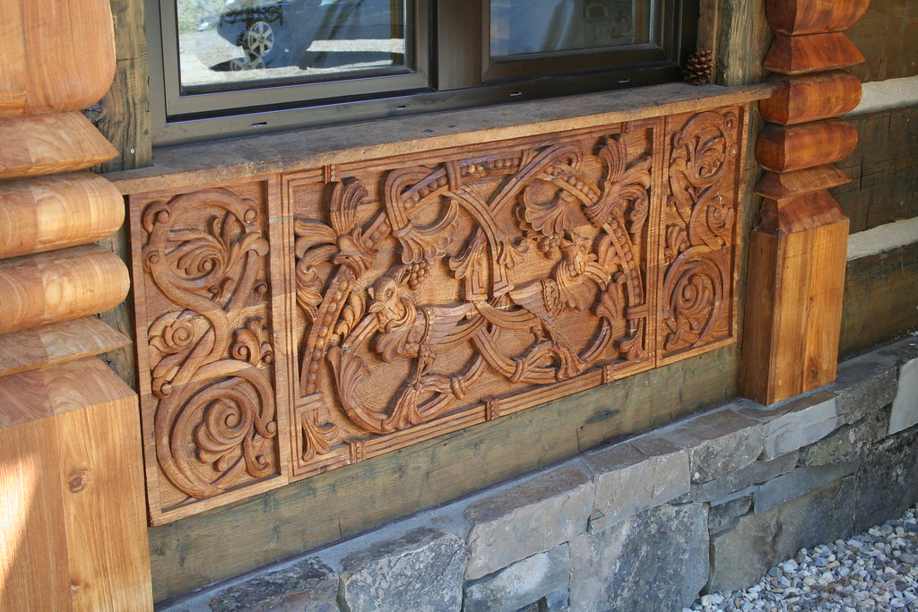 German relief wood carving old church inspired