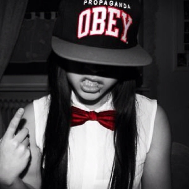 #obey #swag #girl #tumblr #red #white #black #lip #pierc ...
