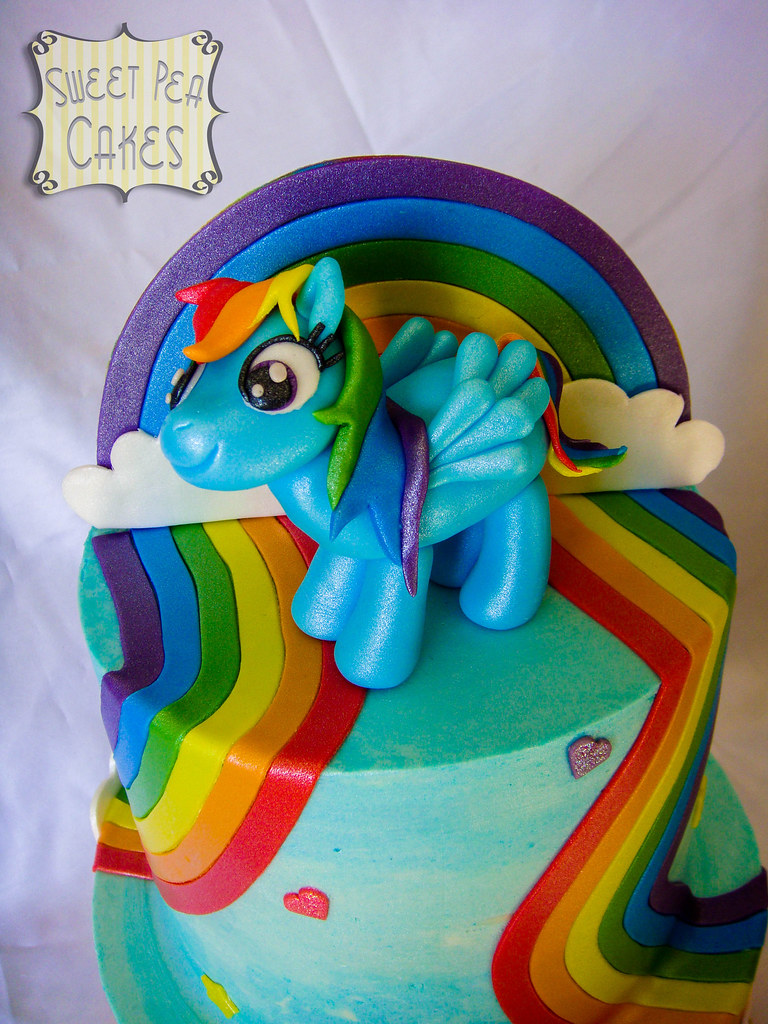 Rainbow dash birthday cake closer look at rainbow dash for Rainbow dash cake template