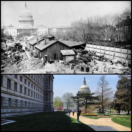 View of Capitol and Library of Congress Jefferson Building on April 11, 1895 and 2013. | by USCapitol