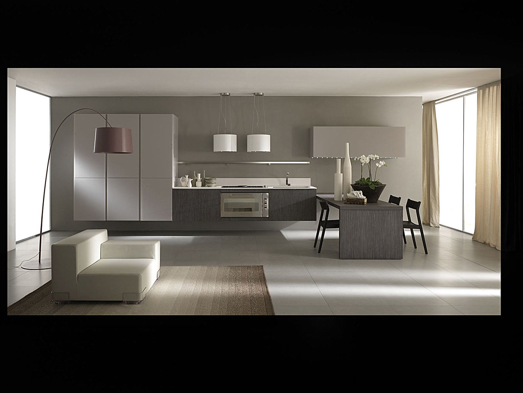 Cuisine contemporaine suspendue cuisine italienne gris for Cuisine contemporaine design