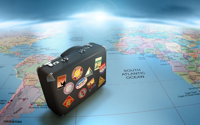 an image of travel Globe-Map-Suitcase-Travel-