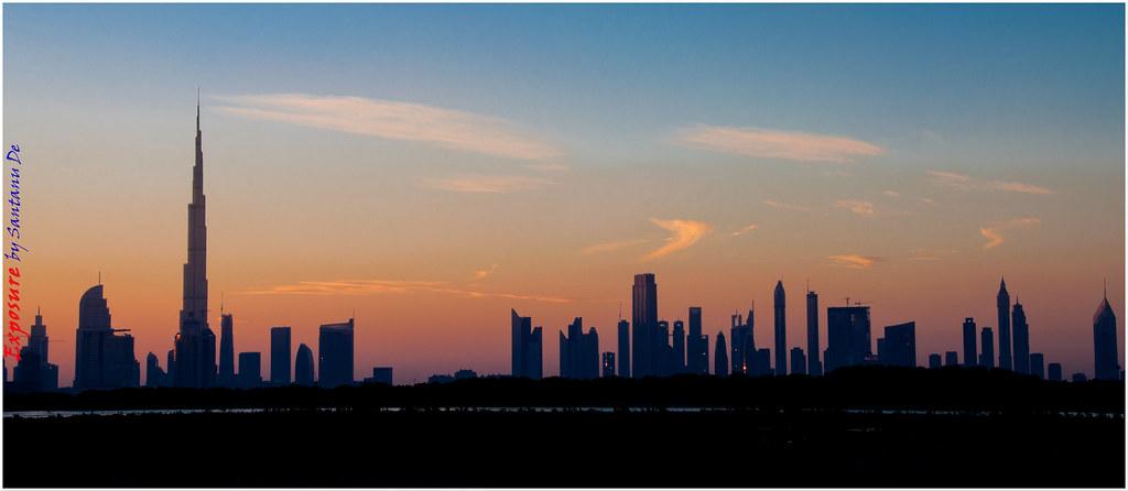 Dubai Skyline Silhouette 01 Santanu De Flickr