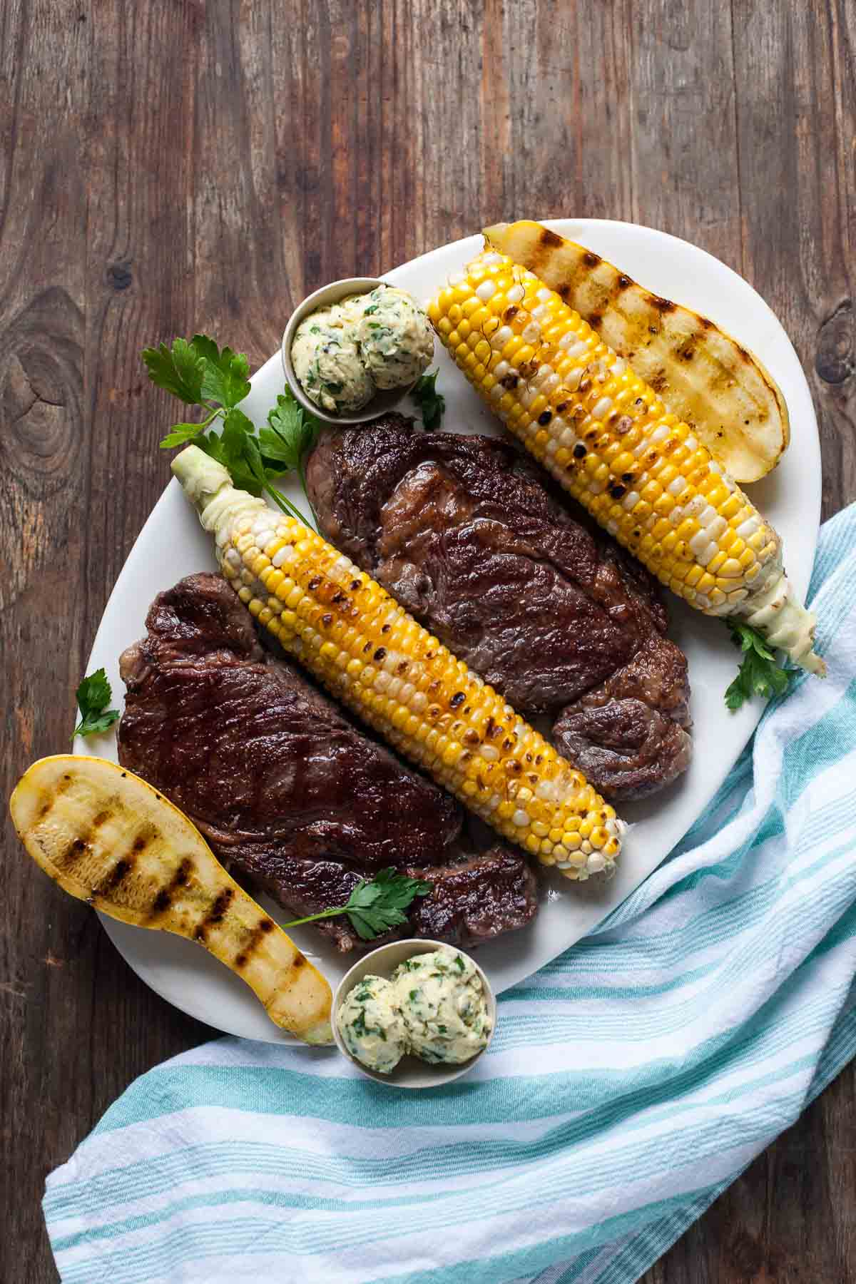 Ribeye Steaks with Chimichurri Butter