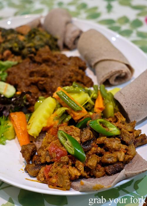 Ethiopian lamb tibs at Aaboll Cafe, Merrylands
