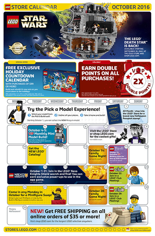 LEGO Shop October 2016 Calendar