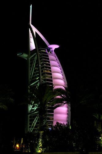 Burj al arab night shot of dubai 7 star hotel burj al for Burj al arab 7 star