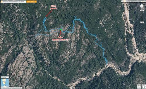 Photo aérienne 2D du versant de montée à Pinetu Pianu avec la trace de montée 07/2016 mais sans le plateau de Pinetu Pianu