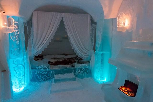 Habitación en el hotel de hielo de Sorrisniva (Alta, Noruega)
