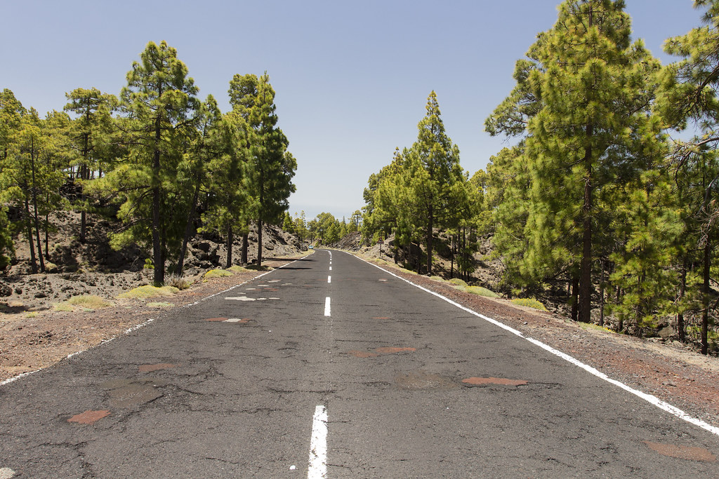 Road to Teide by lava field - Tenerife