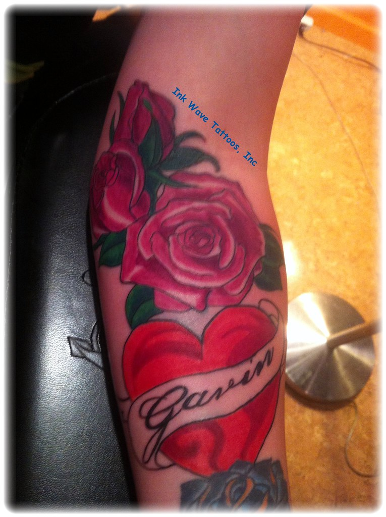 Heart Roses Name Tattoo Design Ink Wave Tattoos Flickr