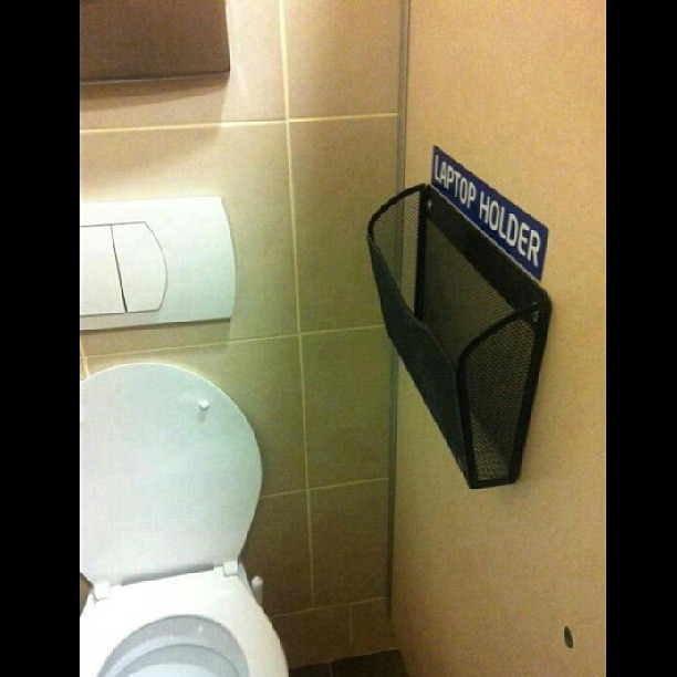 Who is willing to use a public #bathroom #laptop holder? B… | Flickr