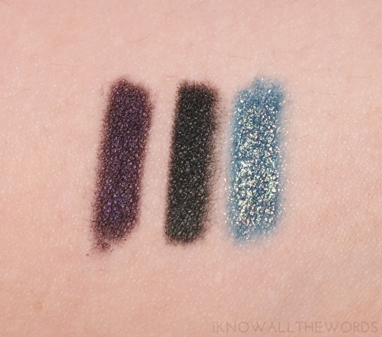 avon glimmerstick majestic plum, blackened green, teal sparkle (2)