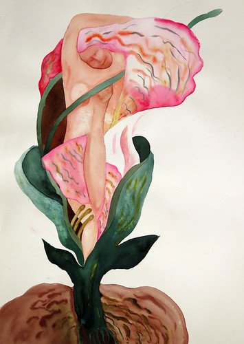 Watercolour of Virgo, the virgin, enfolded in a rose