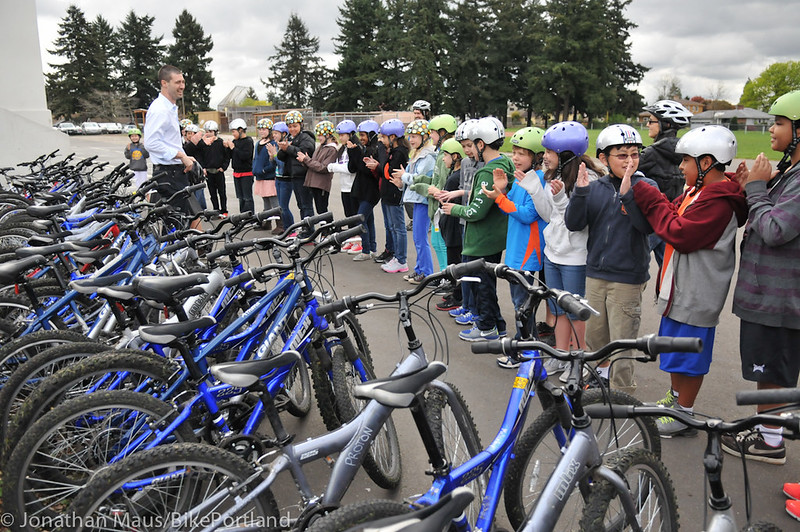 Joey Harrington school bike safety event-7